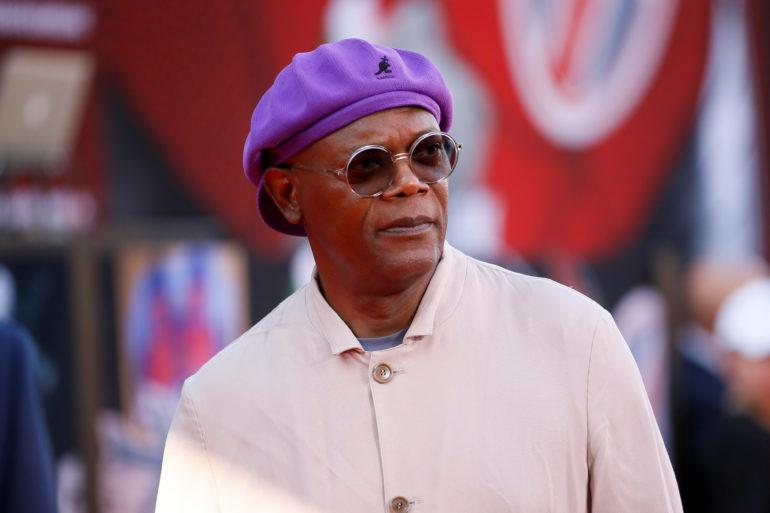 Actor Samuel L. Jackson poses at the World Premiere of